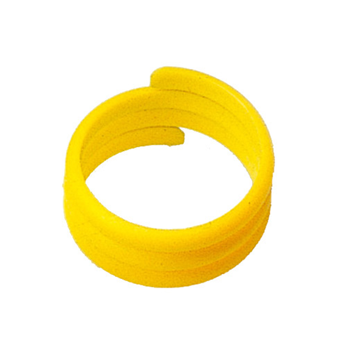 100 PLASTIC BIRD RINGS 18 MM YELLOW